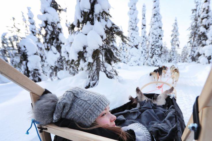 Dans un traîneau tiré par de chiens - Canada