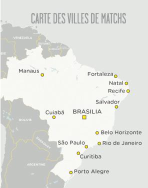 Carte des matchs de football au Brésil