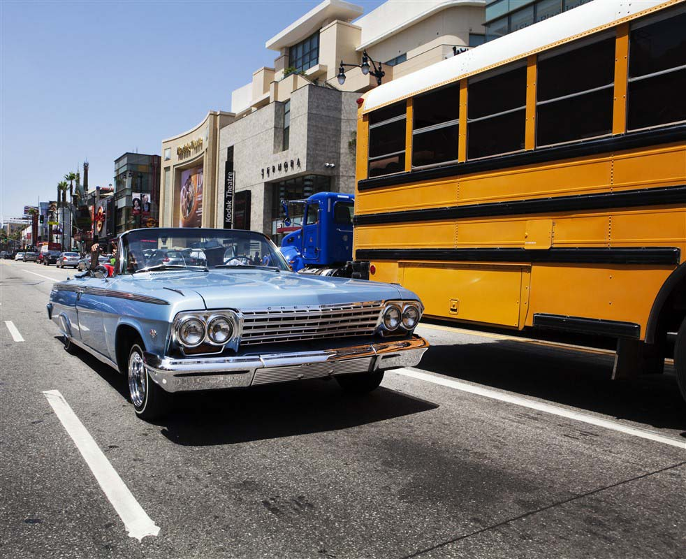 Voiture de collection sur Hollywood Boulevard